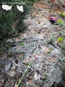 Jade leading Chupi. Climbing in Antalya, day 1.