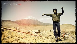 Mohammed slacklining with Mt. Damavand in the background. Is it October yet?